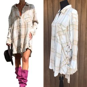 Free People Plaid Shirt Nordic Day Neutral